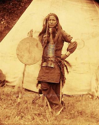 SIOUX INDIAN WARRIOR LITTLE FINGER VINTAGE PHOTO NATIVE AMERICAN OLD WEST #21348