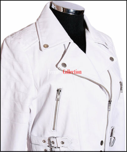 Missy White Cropped Ladies Retro Biker Style Real Sheep Leather Fashion Jacket
