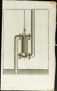 1777 - Grabado de Una Bomba - Mecánico Sanitario - Academia Royal Ciencias