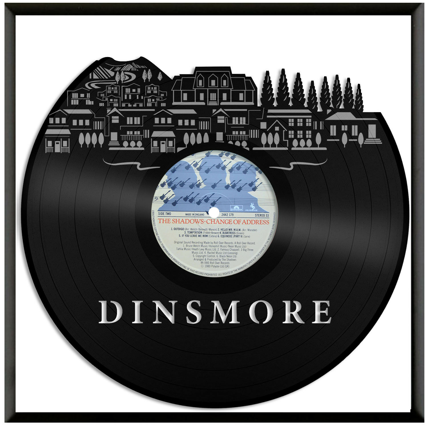 Dinsmore Vinyl Wall Art City Skyline World Travel Gift Office Home Decor Framed