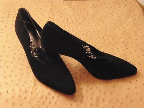 Stock En 40 Zapato Vintage Piel T Tacón Nuevo 80 Silvy Negro Bonita Ante De qBxaaR