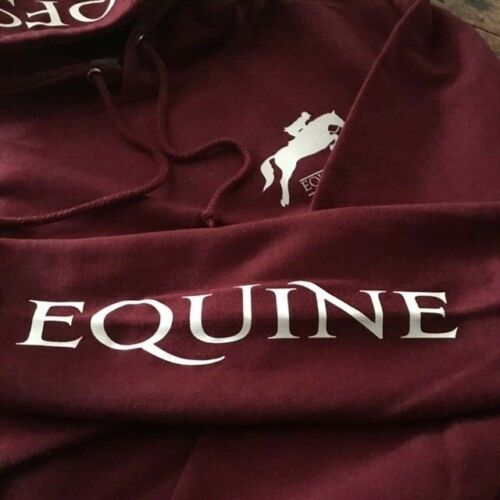 HOOFS equestrian adult hoody BURGUNDY pony camp horse jumping eventing hacking