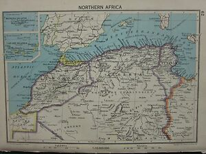 1942 MAP ~ NORTHERN AFRICA MOROCCO ALGERIA CANARY ISLANDS MADEIRA | eBay