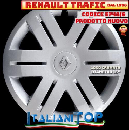 "RENAULT TRAFIC QUATTRO 4 COPRICERCHIO BORCHIA 5748//6 Diam 16/"" LOGO CROMATO 1998"