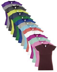 da-donna-tinta-unita-manica-corta-in-cotone-scollo-a-V-maglietta-t-shirt-top