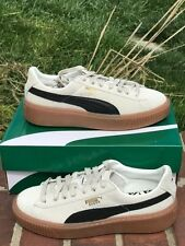 puma suede platform core shoes size 38.5/8 new in box whisper white/black new in