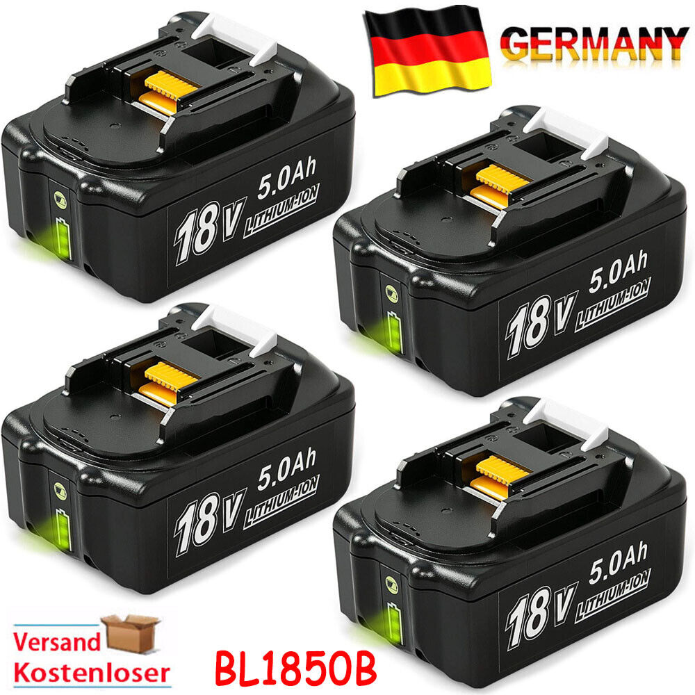 4X BL1850B 18V 5AH Akku für Makita BL1860 194204-5 BL1840 BL1830 mit Led Anzeige