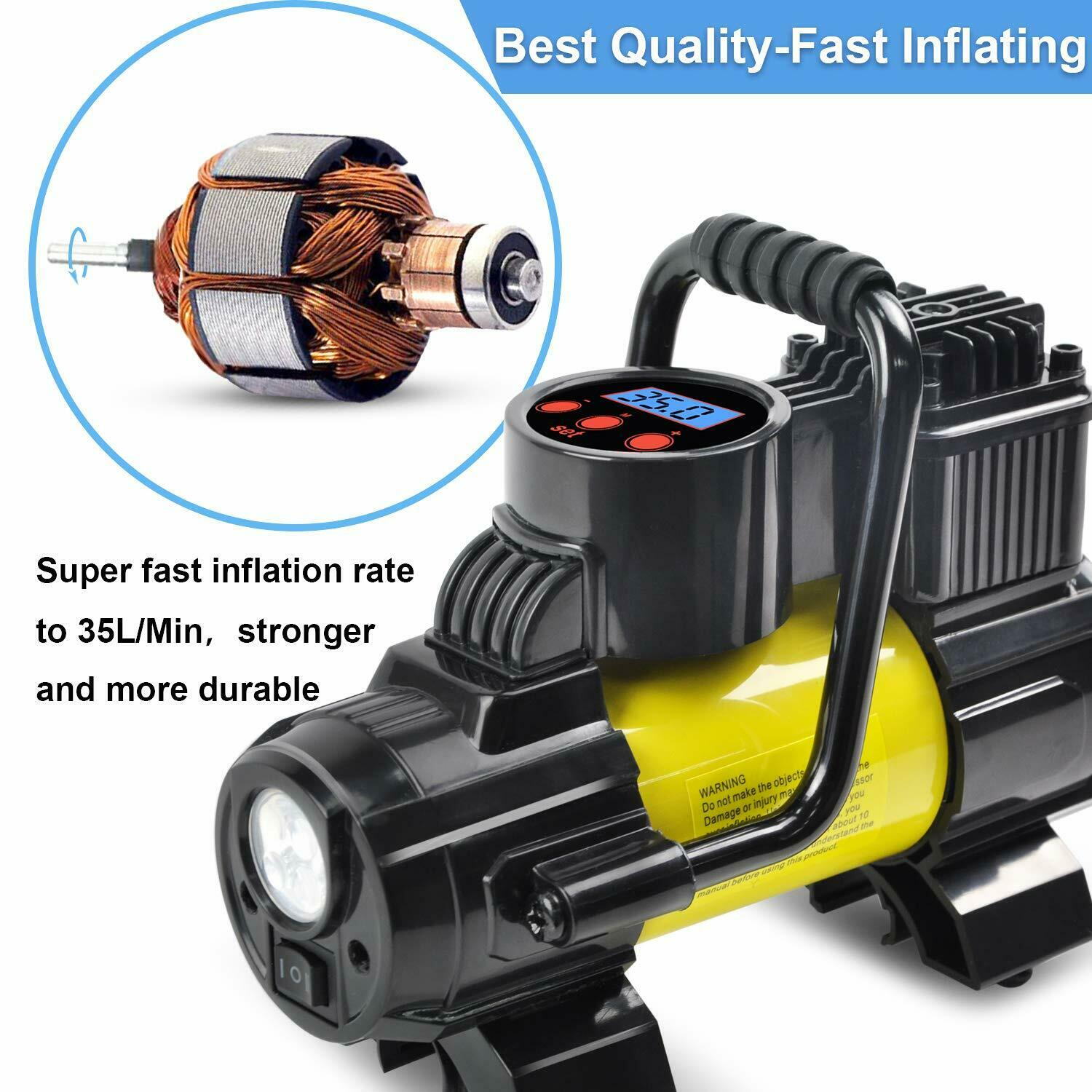 Heavy Duty Portable Air Compressor Car Tire Inflator Electric Pump Auto 12V. Available Now for 33.99
