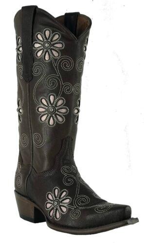 Women/'s New Leather Flower Cowgirl Western Biker Boots Snip Brown Sale