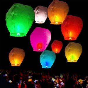 10/20/30/50pcs Papier Lanternes Chinoises Ciel Voler Bougie Lampe De Souhait Mariage Fête-afficher Le Titre D'origine Effet éVident
