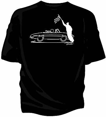 'original Sketch' Chequered Flag Retro T-shirt Classic Alfa Romeo Duetto Spider In Vielen Stilen