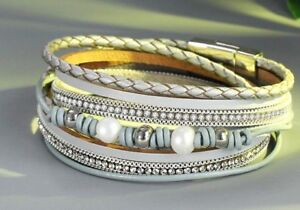 New-Faux-Pearl-Crystal-Bead-Braid-Leather-Silver-tone-Magnetic-Clasp-Bracelet
