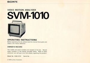 Operating Instructions For Video Motion Analyser Svm-1010 Haben Sie Einen Fragenden Verstand Sony B4112 SchöNe Lustre