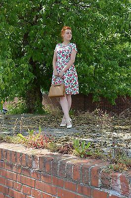 Utile Abito Dress Rockabilly Sottoveste Rose Rose Floral Fiori 50er True Vintage 50´s-mostra Il Titolo Originale