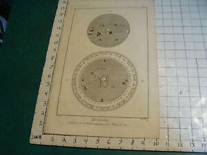 """Original engraving 1760's 10 1/2 x 16"""" CADRETURE DE LA PENDULE DEQUATION DE JULI"""