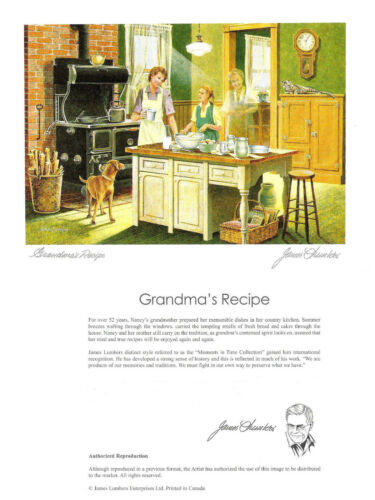 WITH ENVELOPE By James Lumbers Mothers day gift Grandma/'s Recipe Six Art Cards