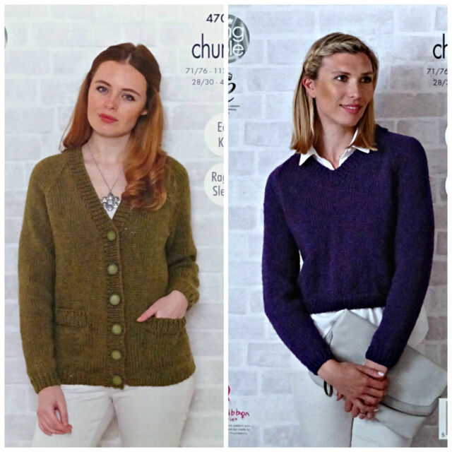 8cdeb3ef1 KNITTING PATTERN Ladies Easy Knit V-Neck Jacket and Jumper Chunky KingCole  4703