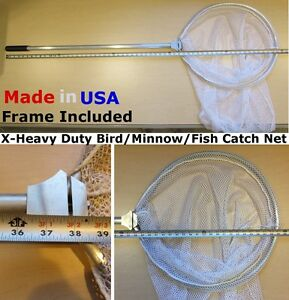 "Catch Net Fish Dip Minnow Seine Chicken w/ X-Heavy Duty 18"" Diameter Long Frame"