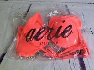 Aerie-Maddie-Swim-Bikini-Top-Bathing-Suit-Neon-Pink-Orange-Lined-Underwire-36C
