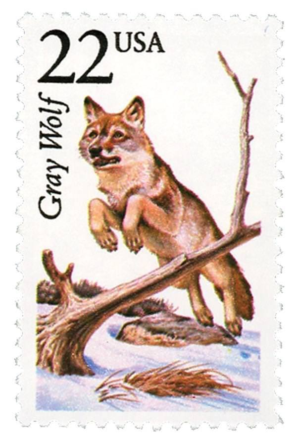 1987 22c Gray Wolf, North American Wildlife Scott 2322