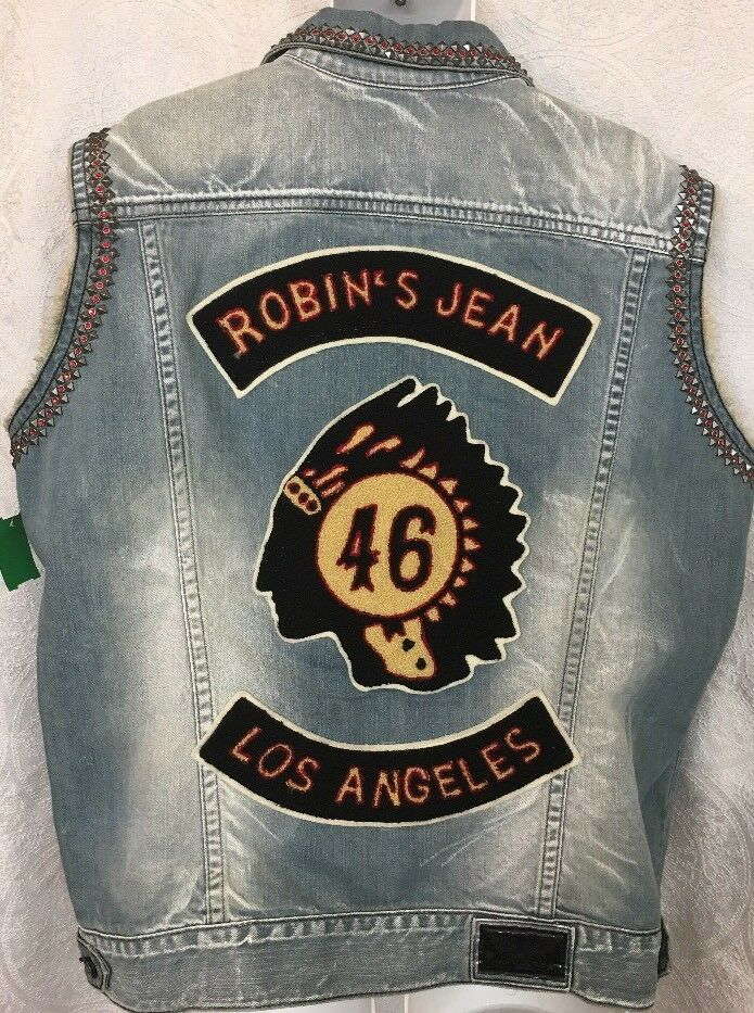 Robins Jeans Vest bluee Denim Studded Los Angeles Patch Size XXL