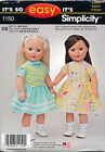 """SIMPLICITY SEWING PATTERN 1150 18"""" DOLL CLOTHES - DRESS, BLOUSE SKIRT & VEST"""