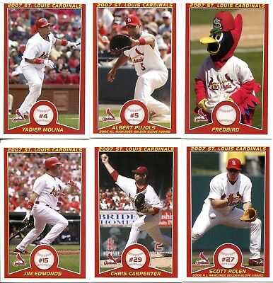 St Louis Cardinals 2007 Kc Life Regional Baseball Cards 27 Card Team Set Ebay