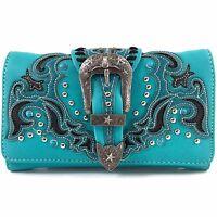 Western Vintage Buckle Wristlet Wallet Long Strap Cross Body Small Purse Blue
