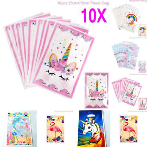 10pcs Unicorn Plastic Gift Bags Candy Bag Loot Bags For Kids Birthday Party#~