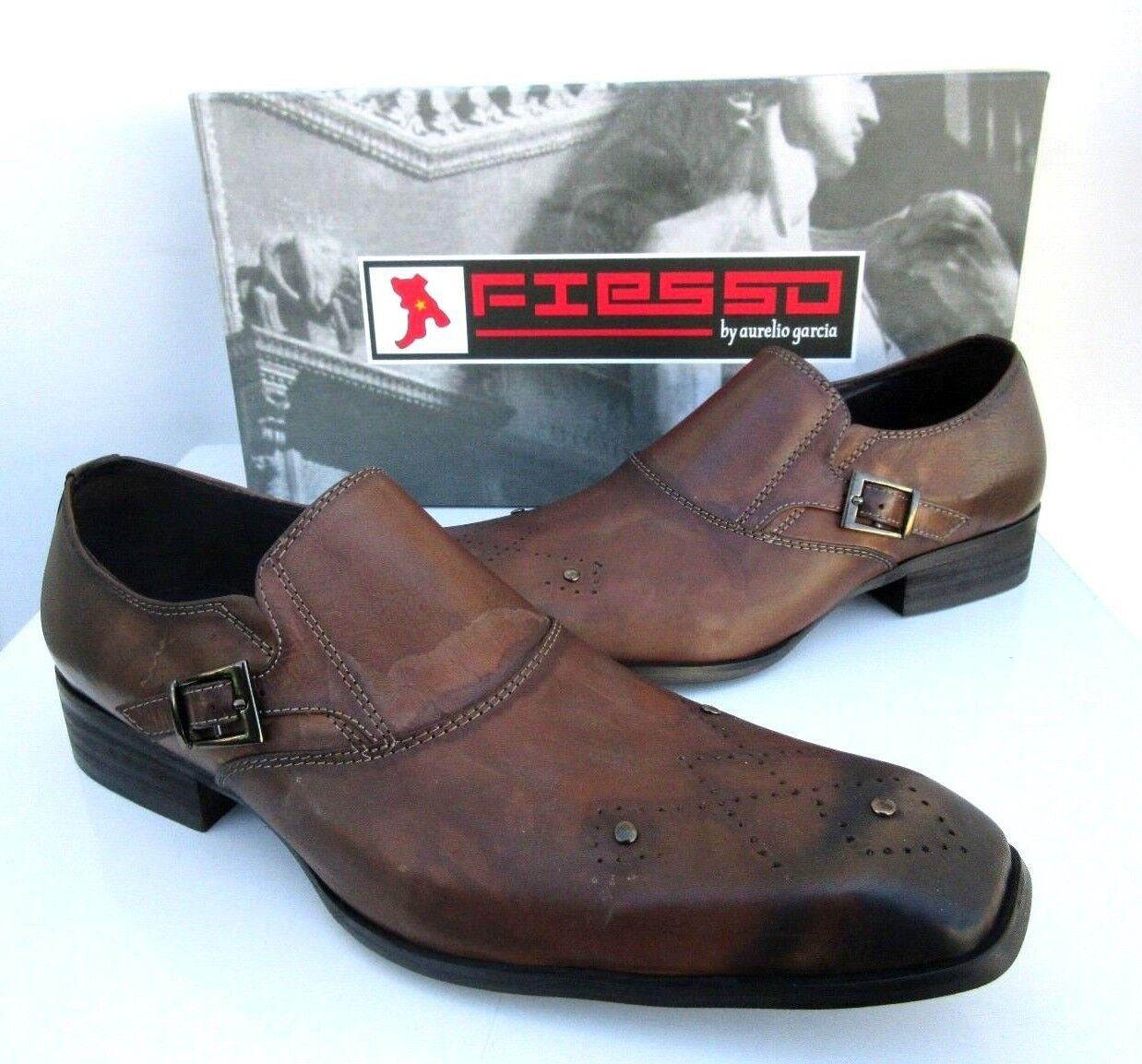 NEW Fiesso Aurelio Garcia Mens marrón Buckle Strap Loafer Style FI-8214 Talla 8