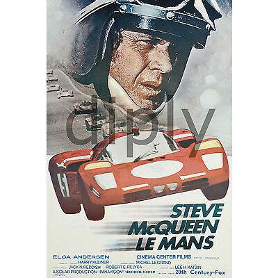 PLAQUE ALU DECO AFFICHE CINEMA STEVE MCQUEEN LE MANS 1971 COURSE AUTOMOBILE