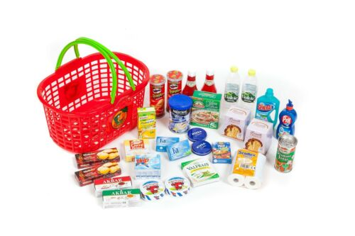 Einkaufskorb gefüllt mit  29 Miniaturen für den Kinderkaufladen Polly Restposten