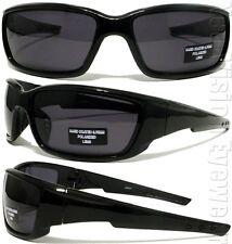 Hard Coated .75MM Polarized Sports Wrap Sunglasses Smoke Lens Shiny Black 63P SH