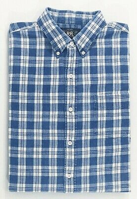 $225 Double Ralph Lauren RRL Mens Blue White Striped Button Dress Shirt 14.5 15