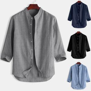 Men-Collarless-Grandad-Shirt-1-4-Sleeve-Summer-Stripe-Hippie-Casual-Tops-Blouse