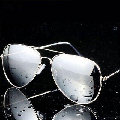 Mens Ladies Classic Gun Metal Vintage Mirror Pilot Sunglasses Chrome Blue New