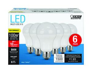 Details About Feit Electric A19 E26 Medium Led Bulb Daylight 100 Watt Equivalence 6 Pk