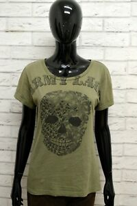 Maglia-BENETTON-Donna-Taglia-Size-L-Maglietta-Shirt-Woman-Cotone-Manica-Corta