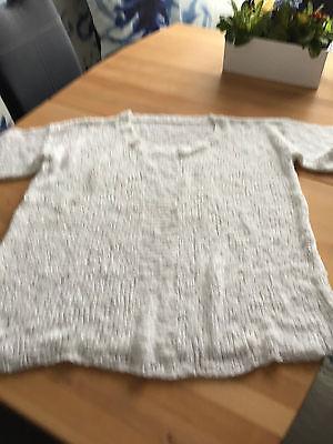 2019 Neuestes Design Handgestricker Pullover Weiß Gr.48 Lana Grossa Bändchengarn Ausgereifte Technologien