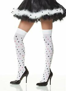 49e422614 Ladies Sexy Opaque Thigh High Stockings with Poker Card Suit Prints ...