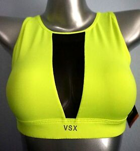 9e093e1f6f463 VSX Victorias Secret Neon Yellow Mesh Panel Unlined High Neck Sports ...