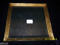 Square Texture Clear Glass Candle Holder Plate 10 Gold Trim