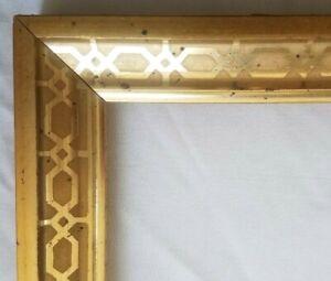 ANTIQUE-Fits-8-1-034-X-10-13-034-LEMON-GOLD-GILT-STENCILED-FRAME-FINE-ART-VICTORIAN