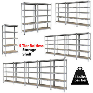 Heavy-Duty-Steel-71-034-5-Level-Garage-Shelf-Metal-Storage-Adjustable-Shelves-Unit