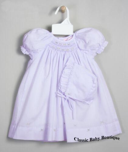 NWT Petit Ami Lavender Multi Smocked Daygown Bonnet 2P Newborn Reborn Baby Girls
