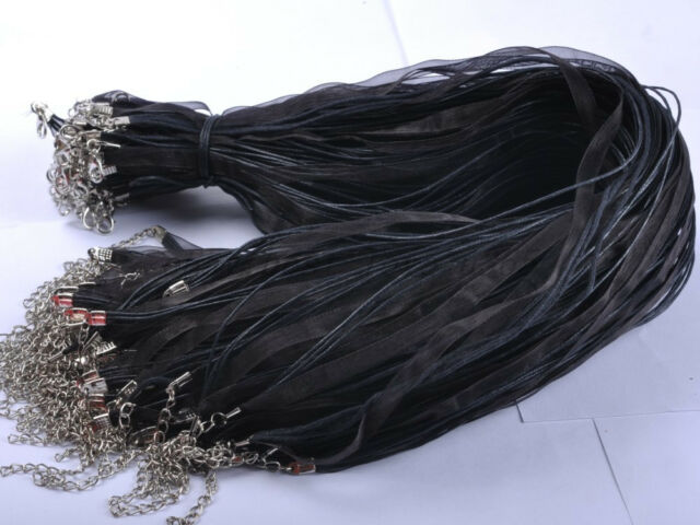 Wholesale Lots 10/20/50/100/200Pcs ORGANZA RIBBON Cord LOBSTER CLASP Necklaces