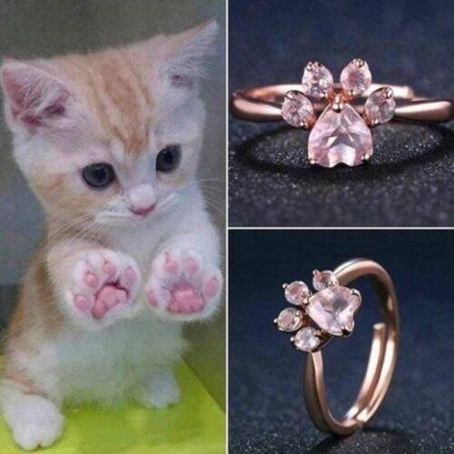 Classic Bear Paw Cat Claw Femmes Or Rose ouverture réglable zircon Bagues Cadeaux