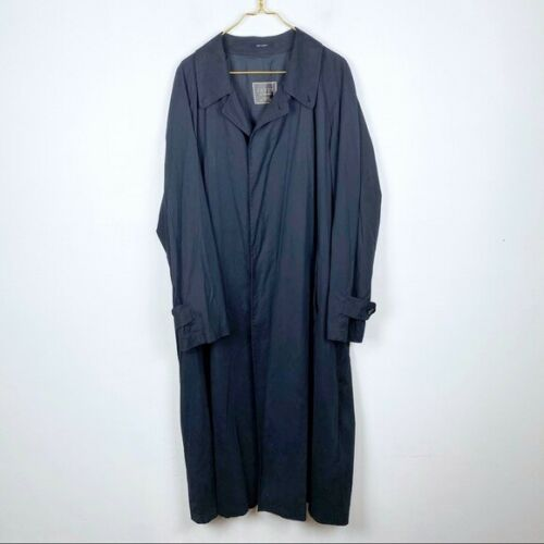 Sanyo Men's Black Button Front Trench Coat Size 44