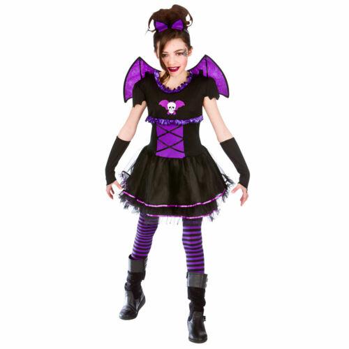 Childrens Girls Batty Ballerina Costume for Bat Vampire Fancy Dress