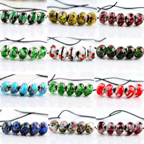 New 5Pcs SILVER MURANO GLASS BEAD Fit European Charm Bracelet Jewelry Making
